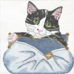 click here to view larger image of Black & White Kitten in Blue Clutch (hand painted canvases)
