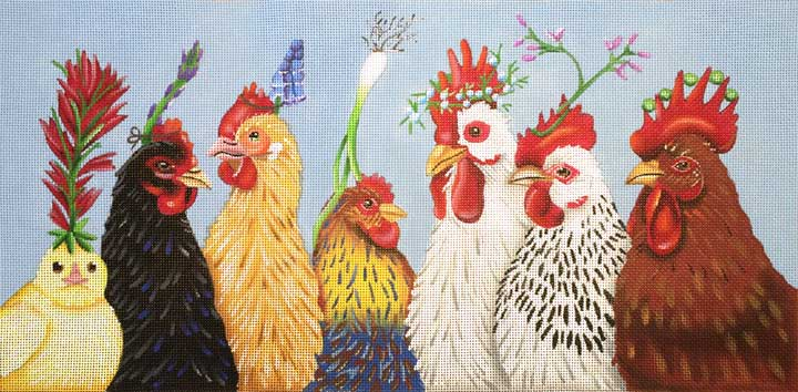 Party In the Coop hand painted canvases