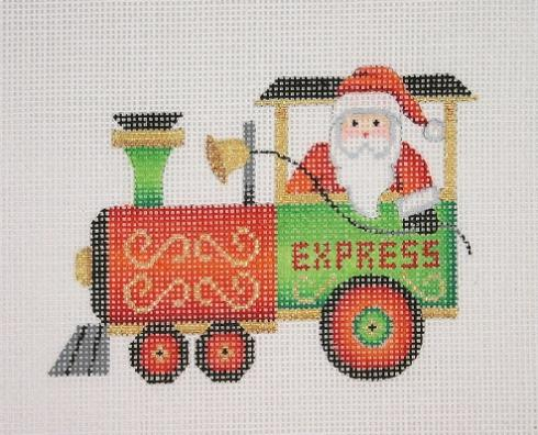 click here to view larger image of Christmas Train - Engine with Santa (hand painted canvases)