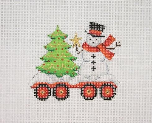 click here to view larger image of Christmas Train - Flat Car with Tree and Snowman (hand painted canvases)