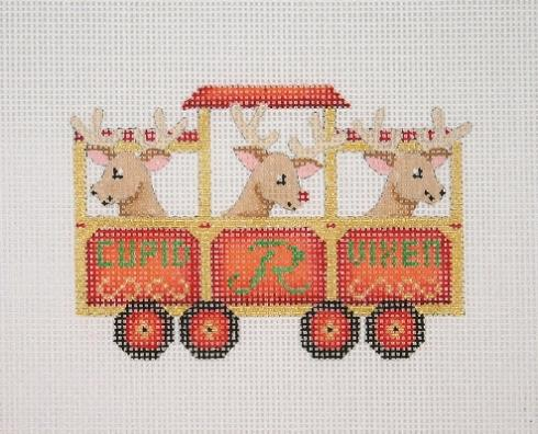 click here to view larger image of Christmas Train - Reindeer Car (hand painted canvases)
