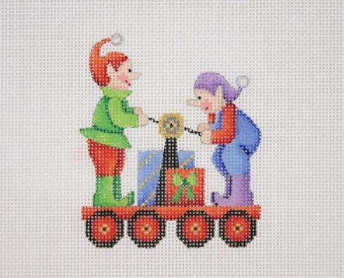 click here to view larger image of Christmas Train - Elf Car (hand painted canvases)