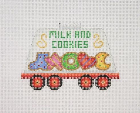 click here to view larger image of Christmas Train - Milk Car with Christmas Cookies (hand painted canvases)
