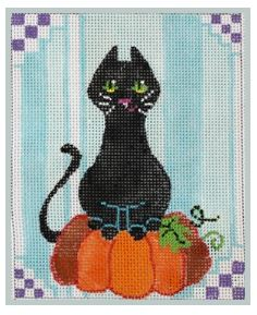 click here to view larger image of Tall Cat Poses on Pumpkin (hand painted canvases)