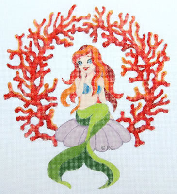 click here to view larger image of Mermaid in Coral (hand painted canvases)