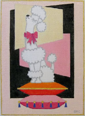 click here to view larger image of Snooty Poodle - White (hand painted canvases)