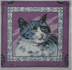 click here to view larger image of Cat on Purple (hand painted canvases)