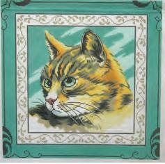 click here to view larger image of Tabby On Green (hand painted canvases)