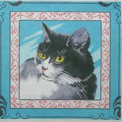 click here to view larger image of Cat on Blue (hand painted canvases)