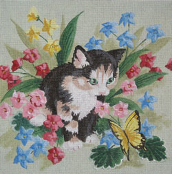 click here to view larger image of Kitten With Butterfly (hand painted canvases)