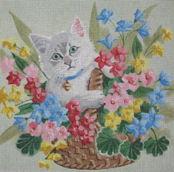 click here to view larger image of Kitten In Basket (hand painted canvases)