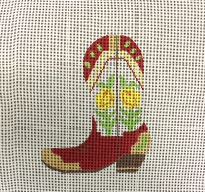 click here to view larger image of Yellow Rose Boot (hand painted canvases)