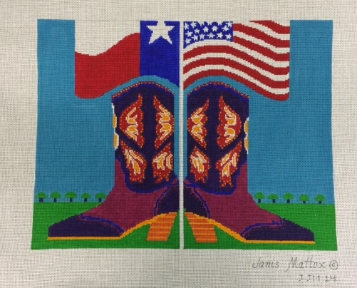 click here to view larger image of Patriotic Cowgirl (hand painted canvases)