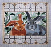 click here to view larger image of Garden Rabbits (hand painted canvases)