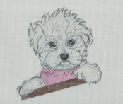 click here to view larger image of Maltease Puppy (hand painted canvases)
