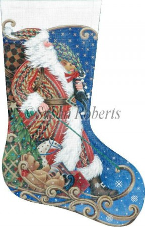 click here to view larger image of Sledding Santa Stocking (hand painted canvases)