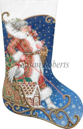 click here to view larger image of Mrs Santa Sleds In Stocking (hand painted canvases)