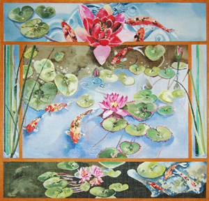 click here to view larger image of Water Lilies and Koi Fish (hand painted canvases)
