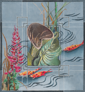 click here to view larger image of Brown Calla Lily / Astilbe / Koi Fish (hand painted canvases)
