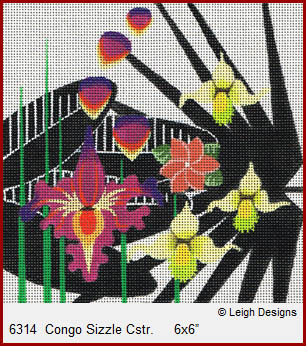 click here to view larger image of Congo Sizzle Coaster (hand painted canvases)