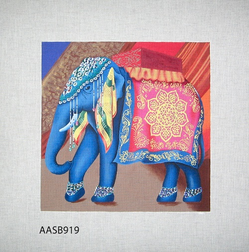 click here to view larger image of Elephant  Jewel Tones (hand painted canvases)
