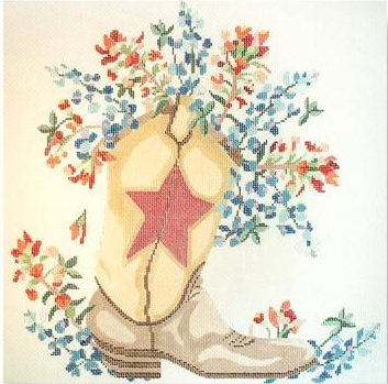 click here to view larger image of Wild Flower With Boot (18ct) (hand painted canvases)