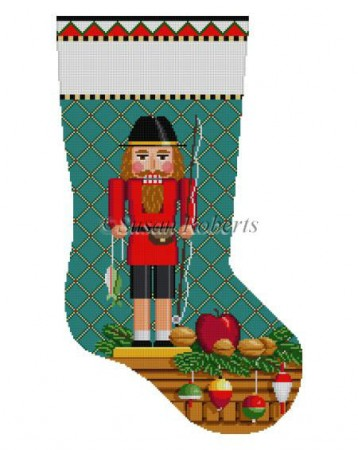 click here to view larger image of Fisherman Nutcracker Stocking (hand painted canvases)