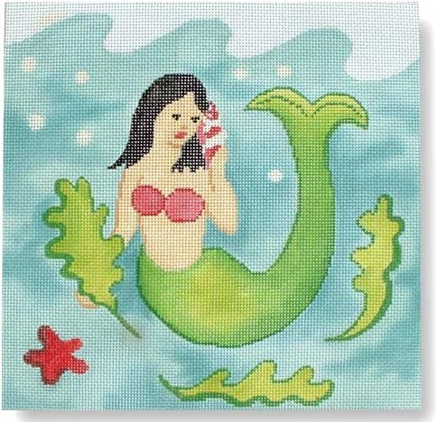 click here to view larger image of Mermaid Pillow (hand painted canvases)