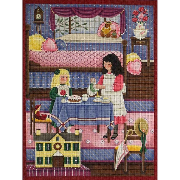 click here to view larger image of Pink Room / Tea Party (hand painted canvases)