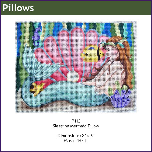 click here to view larger image of Sleeping Mermaid Pillow (hand painted canvases)