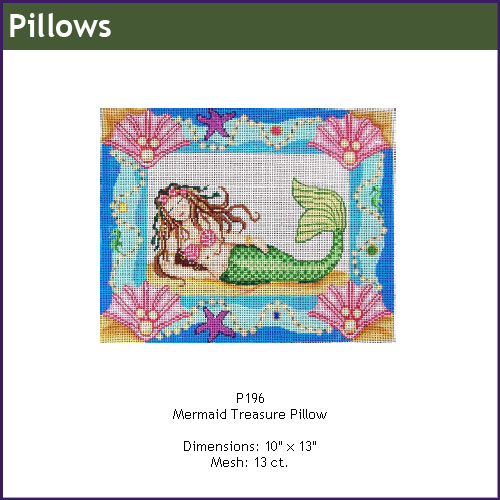click here to view larger image of Mermaid Treasure Pillow (hand painted canvases)