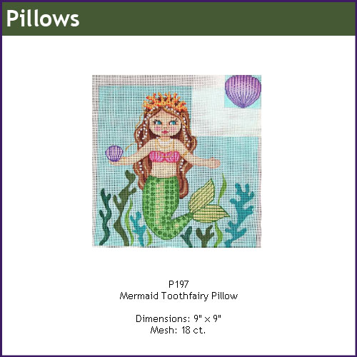 click here to view larger image of Mermaid Toothfairy Pillow (hand painted canvases)