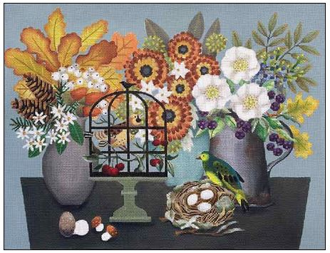 click here to view larger image of Autumn Table (hand painted canvases)