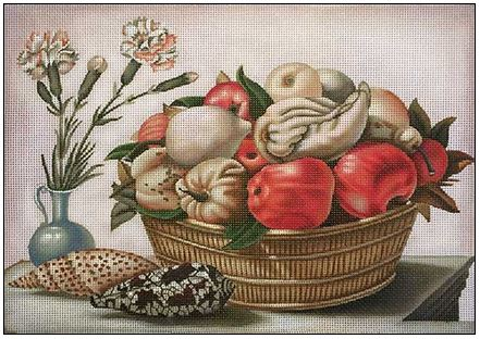 click here to view larger image of Fruit and Shells (hand painted canvases)