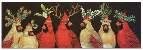 Cardinal Family Christmas hand painted canvases