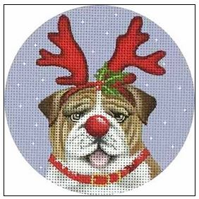 click here to view larger image of Bulldog Ornament (hand painted canvases)