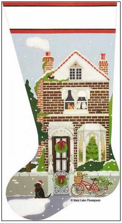 click here to view larger image of Christmas Town House Sock (hand painted canvases)