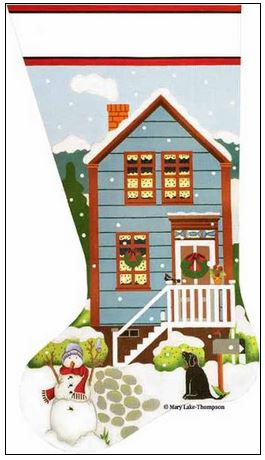 click here to view larger image of Christmas Country House Sock (hand painted canvases)