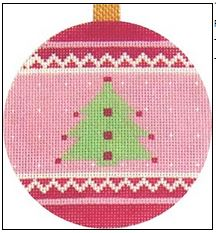click here to view larger image of Pink Tree Ornament (hand painted canvases)