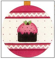 click here to view larger image of Pink Figgy Pudding Ornament (hand painted canvases)