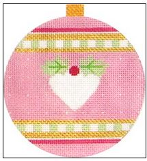 click here to view larger image of Pink Heart Ornament (hand painted canvases)