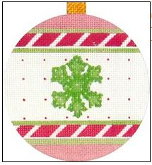 click here to view larger image of Pink Snowflake Ornament (hand painted canvases)