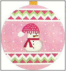 click here to view larger image of Pink Snowman Ornament (hand painted canvases)
