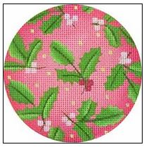 click here to view larger image of Holly Ornament (hand painted canvases)