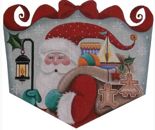click here to view larger image of Folk Santa Cuff (hand painted canvases)