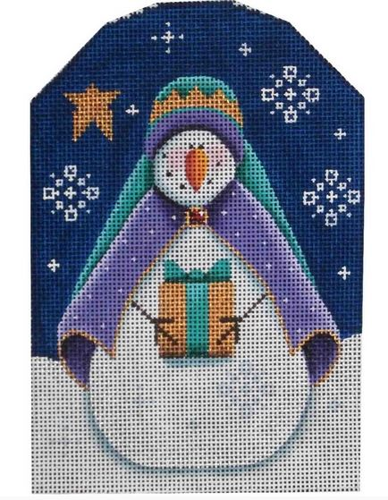 click here to view larger image of Purple Wise Snowman (hand painted canvases)