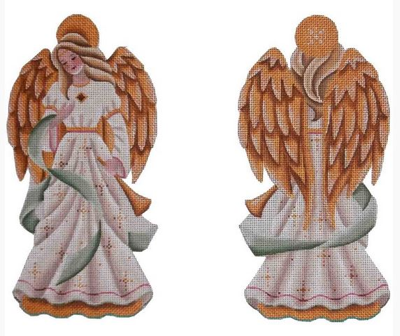 click here to view larger image of Green Ribbon Angel (hand painted canvases)