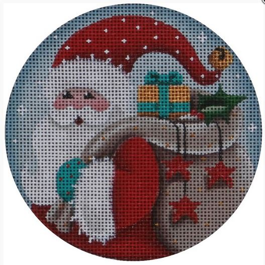 click here to view larger image of Whimsical Santa Ornament (hand painted canvases)
