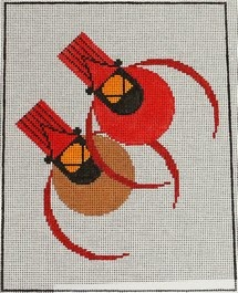 click here to view larger image of Cardinal Couple (hand painted canvases)