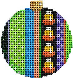 click here to view larger image of Boo Stripe 2 Ball Ornament (hand painted canvases)
